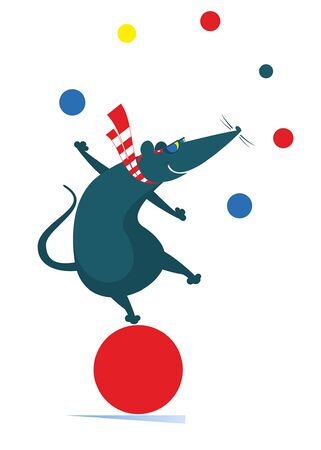 Equilibrist rat or mouse on the big ball juggles the balls illustration. Funny rat or mouse balances on the big ball and juggles the balls isolated on white illustration Vectores