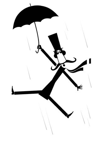 Strong wind, mustache man and umbrella illustration. Hurricane and a long mustache man in the top hat gone with the wind black on white