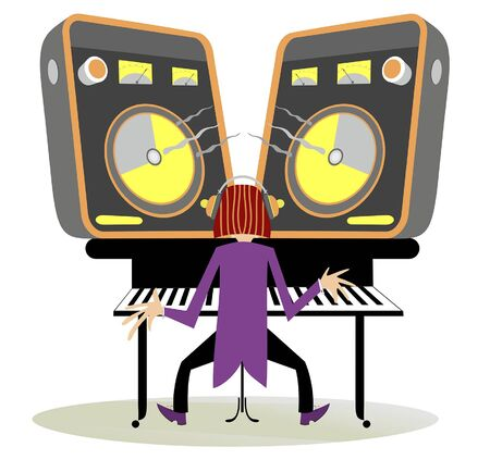 Young man playing piano or keyboard illustration. Musician in headphones, piano or keyboard, two big loudspeakers and loud isolated on white
