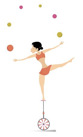 Equilibrist woman on the unicycle juggles balls illustration.  Equilibrist young woman balances on the unicycle and juggles the balls isolated on white Vectores