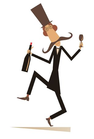 Funny dancing man with bottle of wine and footed tumbler illustration. Long mustache man in the top hat with bottle of wine and footed tumbler isolated on white