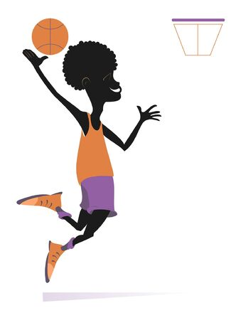 African man plays basketball isolated illustration. Cartoon jumping African basketball player throws the ball into the basket isolated on white