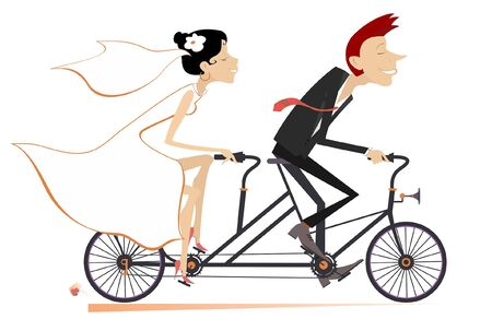 Heterosexual married wedding couple rides on a tandem bike illustration. Happy man and woman in the white dress and bridal goes marriage on the tandem bike isolated on white