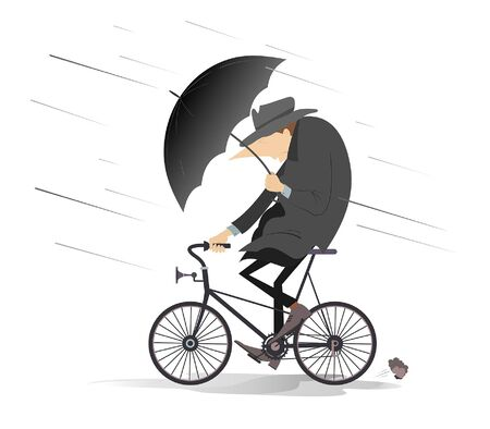 Rainy and windy day and man rides a bike illustration. Man with an umbrella rides a bike under strong wind and rain isolated on white Çizim
