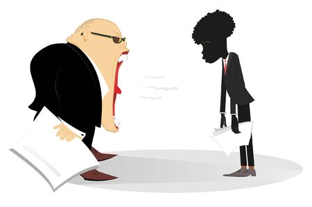 Boss scolds an African employee illustration. Angry Caucasian chief scolds his African employee who hangs his head and hands isolated on white Stock Vector - 143013557