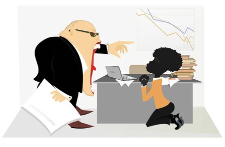 Caucasian boss scolds an African employee illustration. Angry Caucasian chief scolds kneeling African employee and points him get out from the office