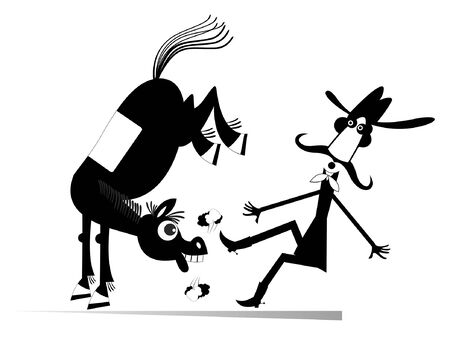 Cartoon rider and a balky horse isolated illustration. Funny horse kicks a confused long mustache man or cowboy black on white Vectores