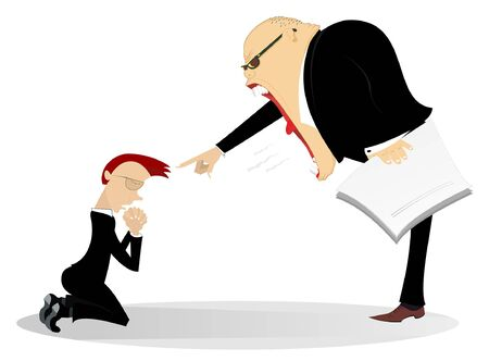 Angry boss scolds an employee illustration. Angry chief scolds kneeling employee and points him by finger isolated on white