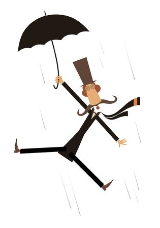 Strong wind, mustache man and umbrella illustration. Hurricane and a long mustache man in the top hat with umbrella gone with the wind isolated on white 向量圖像