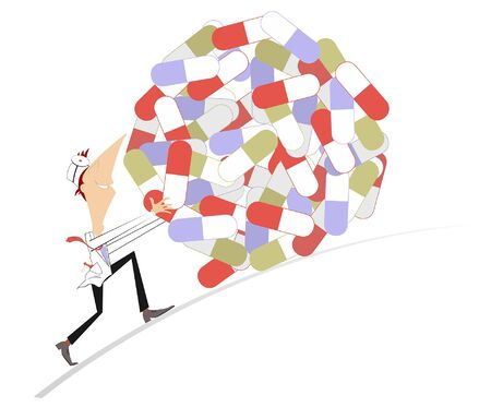 Funny doctor rolls downhill a big pile of pills concept illustration. Smiling doctor rolls downhill a big pile of pills isolated on white