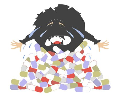 Cartoon crying virus and a pile of pills concept illustration. Perishing crying virus appears from a big pile of pills isolated on white