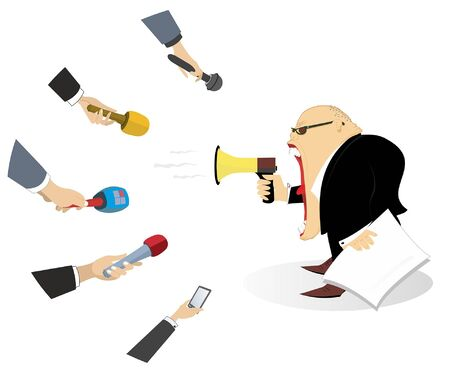 Emotional newsperson, megaphone and hands with microphones illustration. Politician or businessman with megaphone gives information to reporters isolated on white
