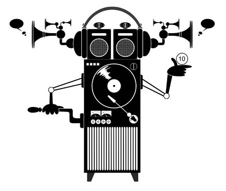 Cartoon funny jukebox illustration. Funny old style jukebox with headphones black on white Vector Illustration