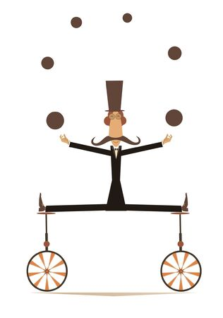 Equilibrist mustache man on two unicycles juggles the balls illustration.  Funny long mustache man in the top hat balances on two unicycles and juggles the balls isolated on white illustration Vectores