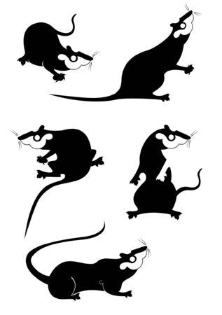 Original rat or mouse set for design. Rat or mouse original black on white illustration