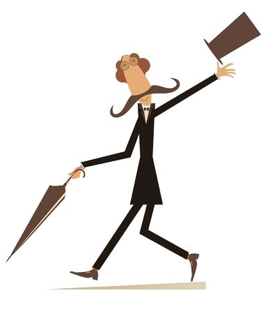 Walking mustache man in the top hat isolated illustration. Cheerfulness long mustache man in the top hat walking with umbrella isolated on white illustration