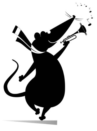 Cartoon rat or mouse a trumpeter is playing music illustration. Rat or mouse playing trumpet isolated black on white Ilustrace