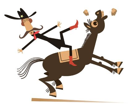 Cartoon rider falls from the horse isolated illustration. Funny long mustache man or cowboy falling down from the horse isolated on white