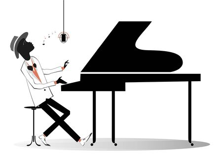 African pianist illustration. Afro-American musician is playing piano with inspiration isolated on white Векторная Иллюстрация