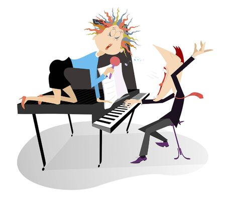 Singer woman and a pianist in the concert illustration. Pianist and singer woman sits on the piano, holds a microphone and sings isolated on white Ilustração
