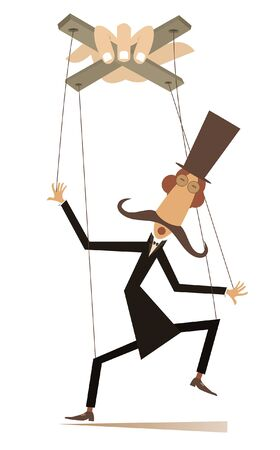 Puppet men concept illustration. Long mustache man in the top hat is controlled by cords like puppet isolated on white
