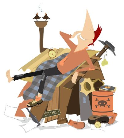 Cheerfulness beggar lying on the roof of his hut illustration. Beggar has a rest lying on the roof of his hut and listening the vintage record player and birds isolated on white Ilustración de vector