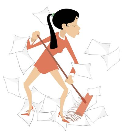 Businesswoman sweeps papers from the office illustration. Cartoon angry woman sweeps papers from the office using a broom isolated on white