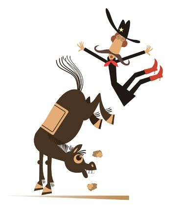 Cartoon rider falls from the horse illustration. Funny horse kicks a falling down long mustache man or cowboy isolated on white