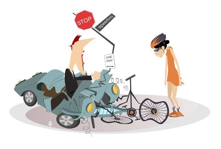 Road accident, driver, cyclist and broken bike illustration. Angry driver man swings his fists and cries to the sad cyclist woman isolated illustration Illustration