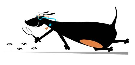 Cartoon dog a detective illustration. Dachshund detective holding a loupe follows the traces isolated on white Çizim