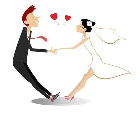 Heterosexual married wedding couple holds hands illustration. Heart signs and holding hands romantic man and woman in the white dress and bridal fall in love isolated on white