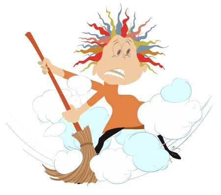 Dust cloud and woman with a big broom illustration. Cartoon woman sweeps dust using a broom isolated on white Ilustracje wektorowe