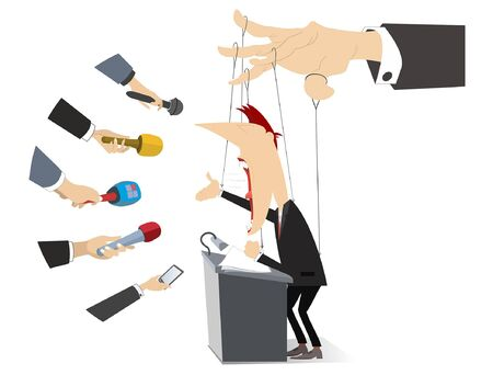Men makes a report is controlled by cords like puppet concept illustration. Politician or businessman gives information to reporters is controlled by cords like puppet isolated on white
