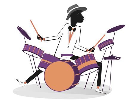 African drummer and drum kit illustration. Cartoon African man plays on drums isolated on white illustration