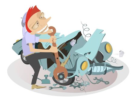 Cartoon mechanic repairs a car illustration. Cartoon mechanic with a big spanner repairs the broken car isolated on white