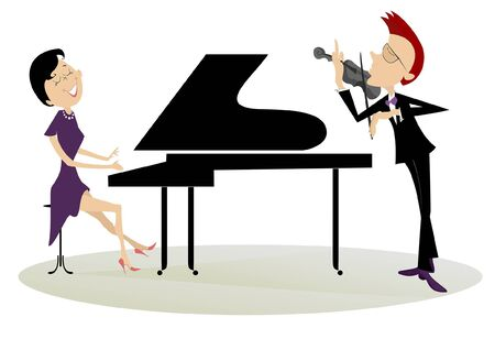 Couple musicians play music on violin and piano isolated illustration. Duet of violinist man and pianist woman isolated illustration