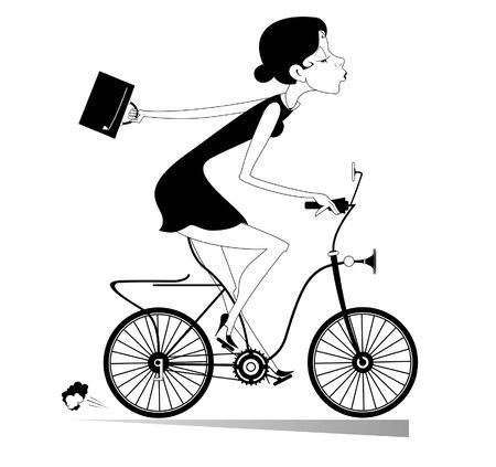 Young woman goes to work on the bike illustration. Pretty young businesswoman with a bag goes to work on the bike black on white
