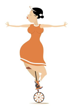 Sexy plump woman rides on the unicycle illustration. Funny plump young woman balances on the unicycle isolated on white Ilustração