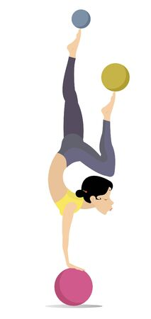 Pretty young woman do exercises with the balls illustration. Pretty young woman standing legs up on the ball and doing exercises with the balls by legs isolated on white illustration