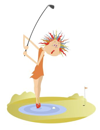Woman and problem kick on the golf course illustration. Funny golfer woman stands on the water is thinking how to do a kick from the water obstacle