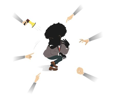 Confused and upset African man surrounded by hands illustration. Shy and upset African man surrounded by hands of aggressive people isolated on white Ilustração
