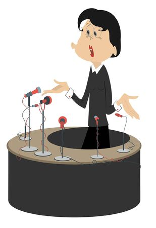 Speaker, tribune and microphones illustration. Woman makes an emotional speech from tribune and gesticulating with hands isolated on white Ilustração