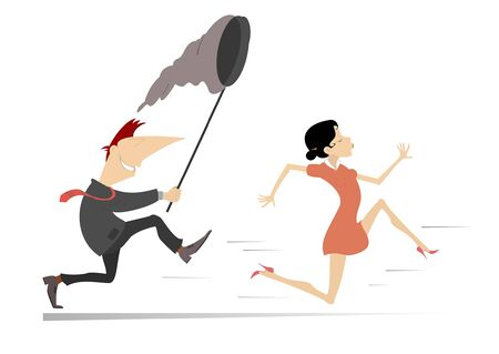 Smiling man tries to catch a running young woman with butterfly net illustration. Young woman runs away from the man with a butterfly net isolated on white