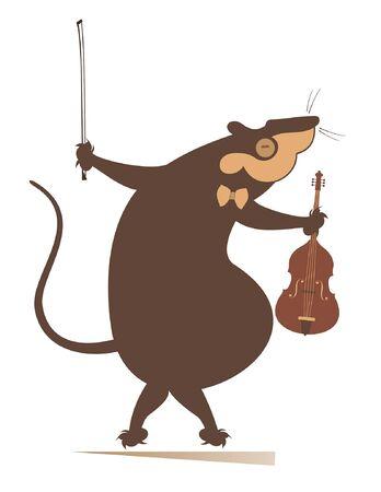 Cartoon rat or mouse violinist illustration isolated illustration. Funny rat or mouse with violin and fiddlestick black on white Ilustrace
