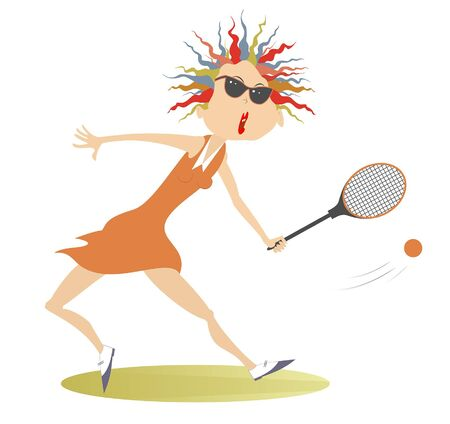 Young woman playing tennis illustration. Pretty young woman in sunglasses with a tennis racket beats a ball isolated on white
