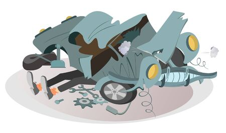 Mechanic repairs a car illustration. Legs of a mechanic sticking out from under a wrecked car isolated Ilustração