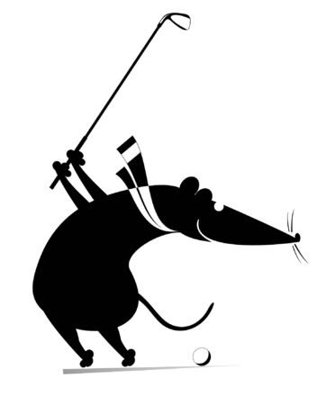 Cartoon rat or mouse plays golf illustration. Funny rat or mouse tries to do a good kick black on white