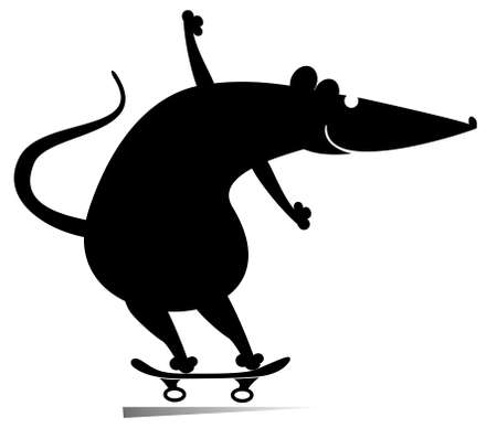Cartoon rat or mouse a skateboarder isolated illustration. Cartoon rat or mouse rides on the skateboard black on white