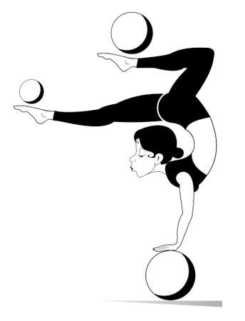 Young woman does exercises with the balls illustration. Young woman with lithe figure doing sport exercise with the balls black on white Ilustração