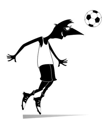 Smiling young man playing football illustration. Cartoon football player beats a ball by head black on white